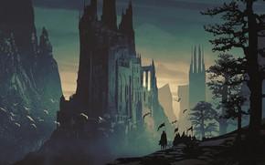 Picture fantasy, tower, trees, mountain, Castle, digital art, artwork, fantasy art, knight, medieval