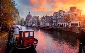 Picture autumn, sunset, the city, building, home, boats, Amsterdam, Church, channel, Netherlands, the dome, Holland, Ed …