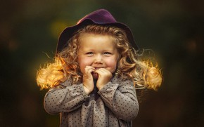Picture girl, hat, child, curls, Ксения Лысенкова