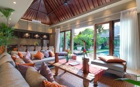 Picture interior, pool, kitchen, terrace, living room, dining room, Bali, villa Eshara III