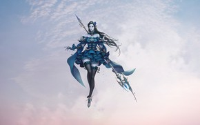 Picture Girl, Fantasy, Clouds, Sky, Art, Style, Concept Art, Minimalism, Dress, Stockings, Armor, Weightlessness, Magic Staff, …