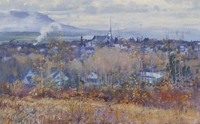 Picture landscape, picture, 1965, Robert Wakeham Pilot, Late in the fall. View of Magog, Robert The …
