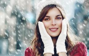 Picture winter, girl, snow, smile, portrait, mittens