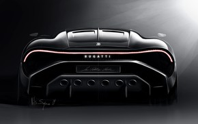 Picture Bugatti, rear view, hypercar, 2019, The Black Car