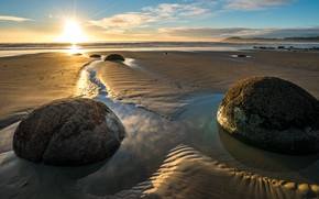 Picture sand, sea, the sun, rays, light, stones, shore, morning, surf, boulders