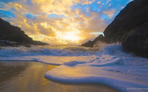 Picture sand, sea, the sky, foam, clouds, sunset, rocks, wave