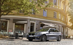 Picture the sun, street, the building, BMW, Sport, 330e