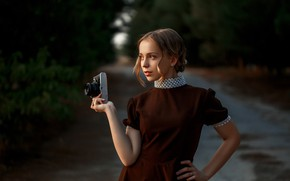 Picture girl, pose, dress, the camera