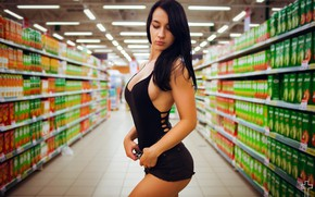 Picture lights, sexy, pose, model, shorts, makeup, Mike, figure, brunette, hairstyle, is, Natali, shop, in black, …