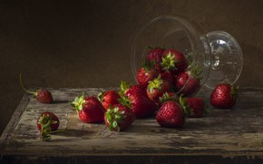 Picture glass, berries, table, Board, strawberry, still life, vase, ramekin