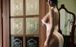 Wallpaper chest, look, girl, rendering, body, dress, Tits, ass, lara croft, tomb raider