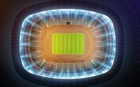 Wallpaper stadium, 3d wallpaper., light lights lighting, the rostrum fans, football, OLE-OLE-OLE-OLE, soccer field, stadium, aerial ...