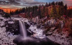Picture forest, landscape, sunset, nature, waterfall, the evening, Washington, USA, Snoqualmie