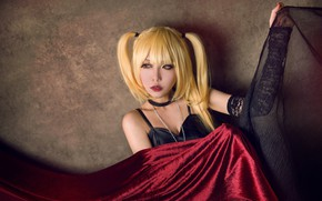 Picture look, girl, face, style, background, wall, hand, portrait, makeup, blonde, costume, outfit, fabric, image, Asian, …