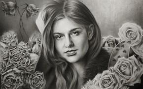 Picture girl, figure, portrait, roses, Chloe Grace Moretz
