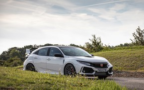 Picture white, Honda, hatchback, on the road, the five-door, 2019, Civic Type R, 5th gen, FK8
