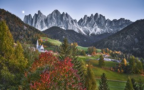 Picture autumn, landscape, mountains, nature, village, Italy, forest, meadows, The Dolomites