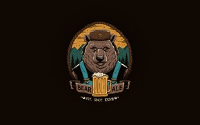 Wallpaper Minimalism, Figure, Beer, Bear, Art, Art, Bear, Beer, by Vincenttrinidad, Vincenttrinidad, Perfect gift for Father's ...