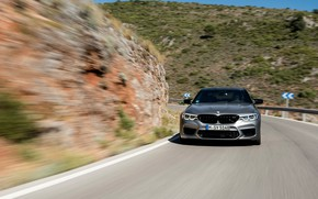Picture grey, movement, BMW, slope, sedan, mountain road, 4x4, 2018, four-door, M5, V8, F90, M5 Competition