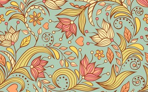 Picture flowers, background, pattern, hearts, vintage, abstract