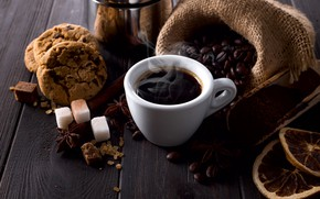 Picture coffee, grain, cookies, sugar