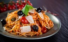Picture tomato, spaghetti, sauce, olives, Parmesan, pasta