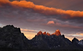 Picture the sky, clouds, sunset, mountains, nature, rocks