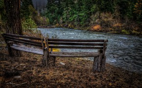 Picture autumn, river, bench