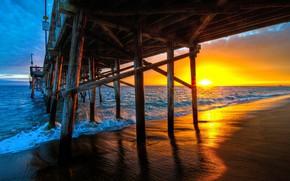 Picture sea, wave, sunset, bridge, photo, pier