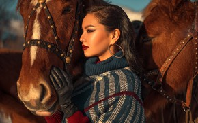 Picture girl, face, hand, horses, makeup, horse, profile, glove, muzzle, Annie Of Antikov