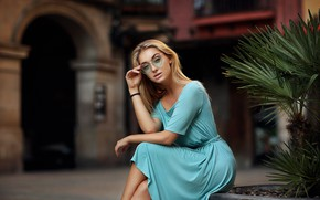Picture look, pose, Girl, dress, glasses, blonde, sitting, Anna, Dmitry Arhar