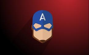 Picture minimalism, Marvel, comics, Captain America, digital art, artwork, mask, superhero, simple background, red background