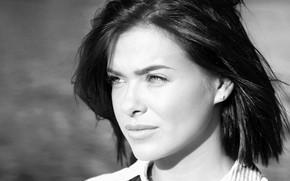 Picture look, girl, pose, portrait, makeup, brunette, singer, TV presenter, black and white, Elena Temnikova, Elena …