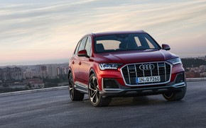 Picture Audi, crossover, Audi Q7, dark red, 2020