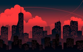 Picture Sunset, Red, Clouds, Minimalism, The city, Building, The building, Background