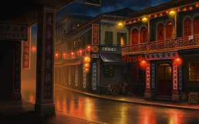 """Picture night, the city, lights, Olga Antonenko, Background and concept sketch for """"Lost Horizon"""" g"""