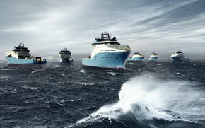 Picture Sea, The ship, Graphics, A lot, Rendering, Maersk, Maersk Line, Ship, Vessel, AHTS, Maersk, Anchor …