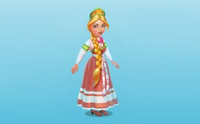 Wallpaper figure, Girl, Braid, Art, Art, Russian girl, National costume, Kokoshnik, Vlad Кrupinin, by Vlad Кrupinin