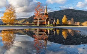 Picture reflection, Lom Norway, Church of vikings