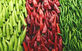 Picture red, green, pepper, sharp, a handful, vegetables, a lot, types, hot pepper, varieties, cuts, pepper, …