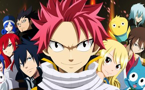 Picture anime, art, characters, Fairy Tail, Face, Natsu, Lucy, Fairy tail