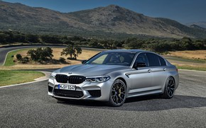Picture grey, track, BMW, sedan, relief, 4x4, 2018, four-door, M5, V8, F90, M5 Competition