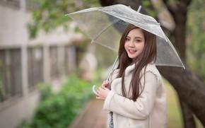 Picture girl, umbrella, Asian, cutie, bokeh