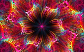 Picture flower, bright colors, fractal, flower, computer graphics, fractal, bright colors, computer graphics