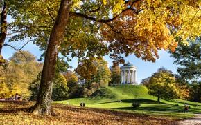 Picture autumn, Park, people, stay, glade, foliage, hill, columns, gazebo, tourism, rotunda, structure, tourists