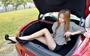 Picture Girls, Peugeot, Asian, beautiful girl, red car, posing in the trunk