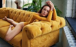 Picture look, girl, face, pose, sofa, feet, hands, Sergey Fat, Sergey Zhirnov, Galina Jijikine