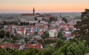 Picture the sky, trees, sunset, view, home, Czech Republic, panorama