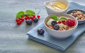 Picture berries, Breakfast, muesli, yogurt