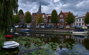 Picture clouds, trees, machine, home, boats, channel, Netherlands, Monnickendam
